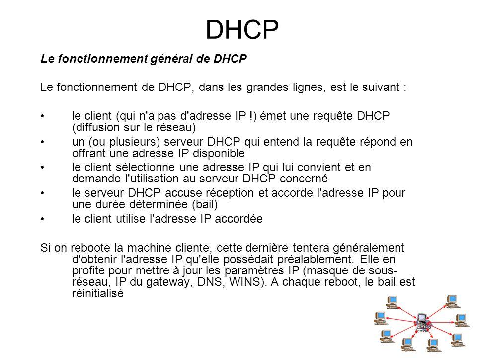 DHCP Le fonctionnement général de DHCP