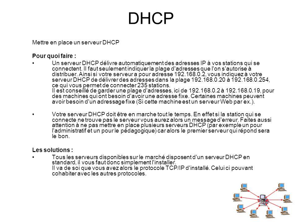 DHCP Mettre en place un serveur DHCP Pour quoi faire :