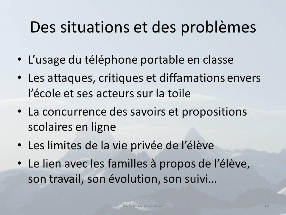Des situations et des problèmes