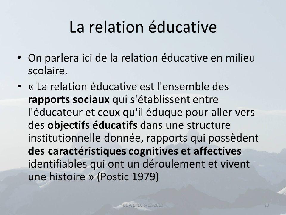 La relation éducative On parlera ici de la relation éducative en milieu scolaire.
