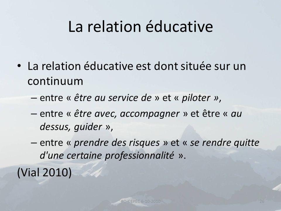 La relation éducative La relation éducative est dont située sur un continuum. entre « être au service de » et « piloter »,