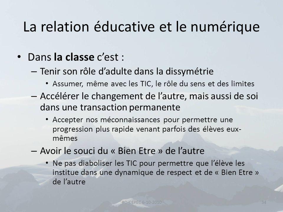 La relation éducative et le numérique