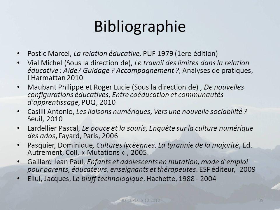 Bibliographie Postic Marcel, La relation éducative, PUF 1979 (1ere édition)