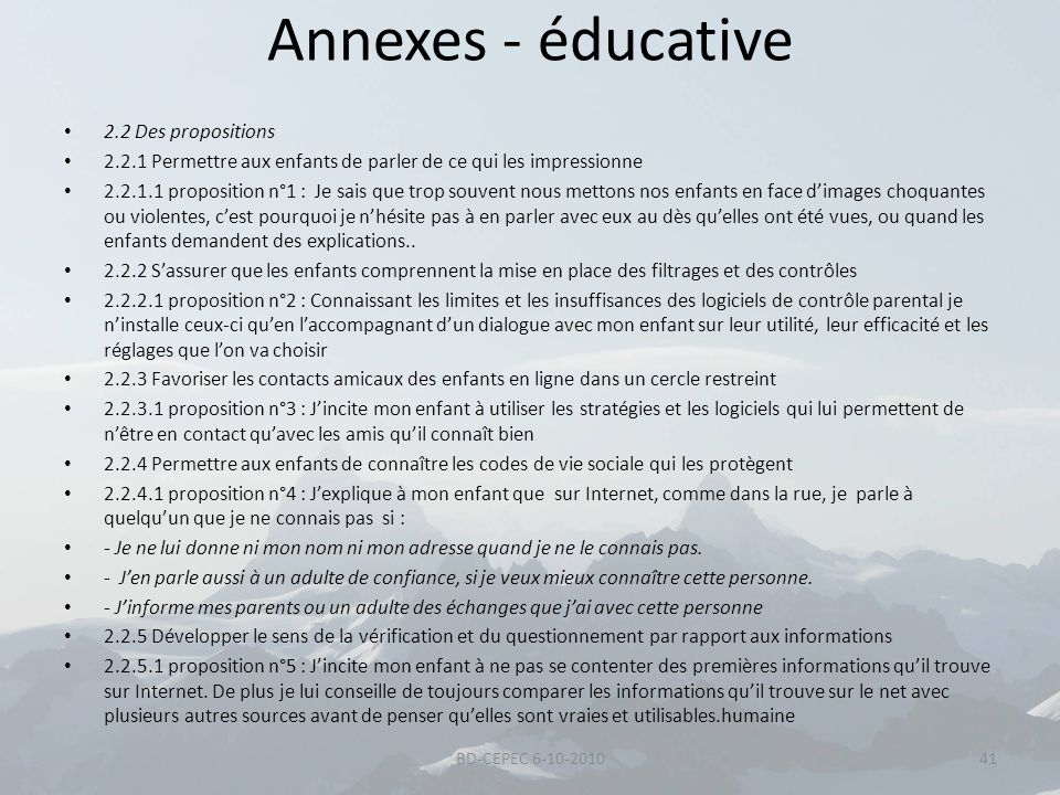 Annexes - éducative 2.2 Des propositions
