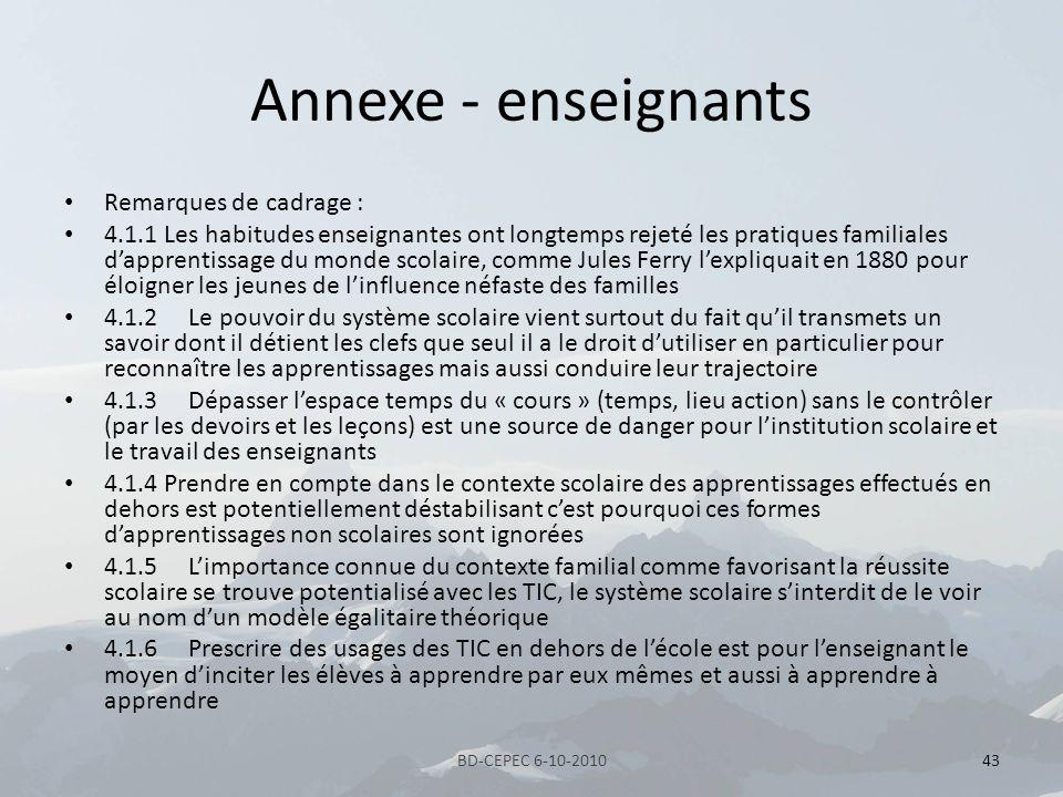 Annexe - enseignants Remarques de cadrage :