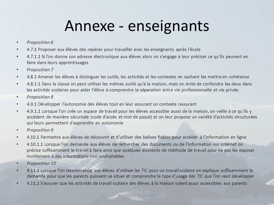 Annexe - enseignants Proposition 6