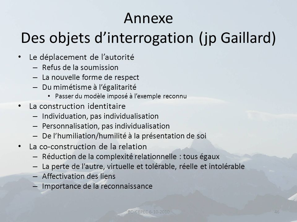 Annexe Des objets d'interrogation (jp Gaillard)
