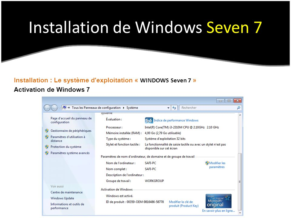 Installation de Windows Seven 7