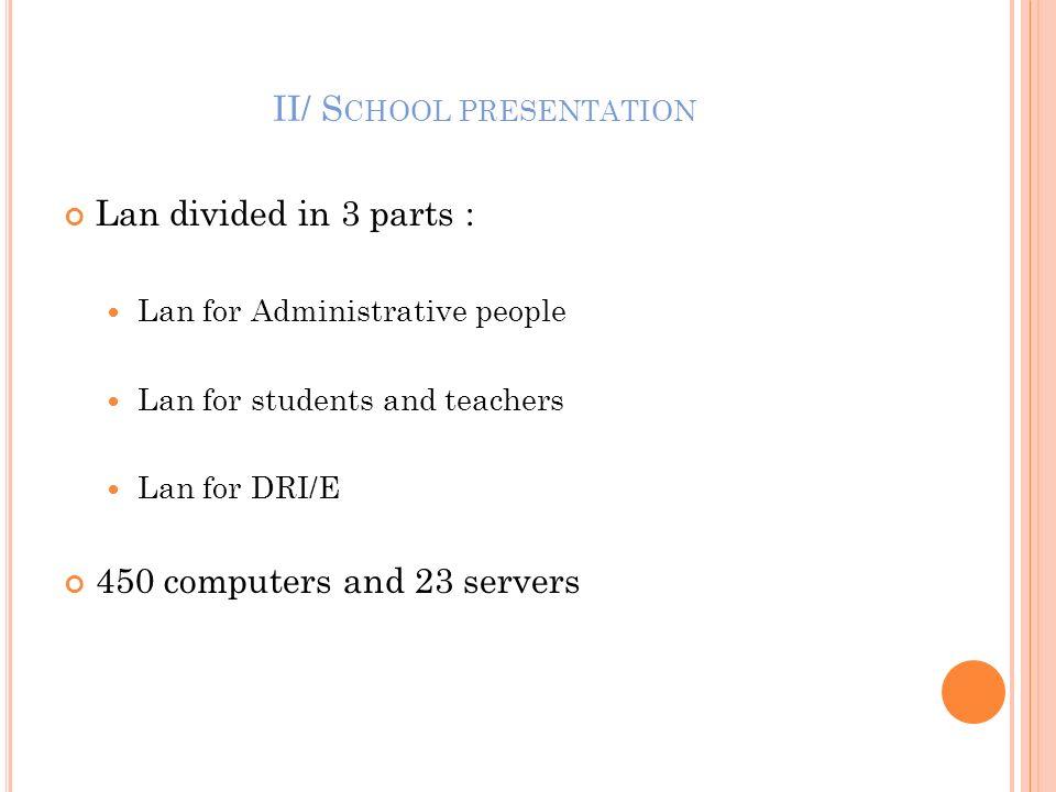 II/ School presentation