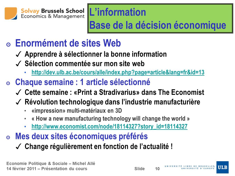 L'information Base de la décision économique