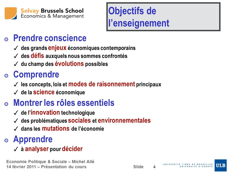 Objectifs de l'enseignement