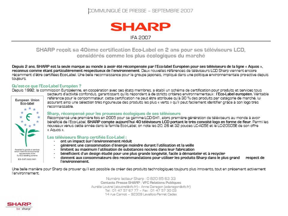 SHARP reçoit sa 40ème certification Eco-Label en 2 ans pour ses téléviseurs LCD, considérés comme les plus écologiques du marché.