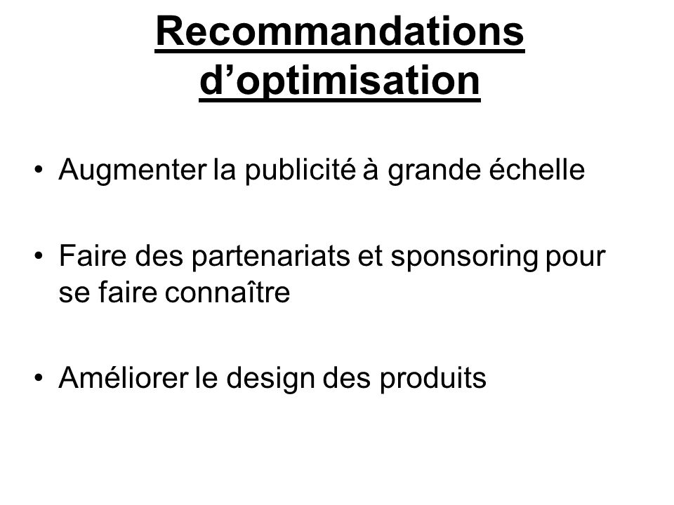 Recommandations d'optimisation