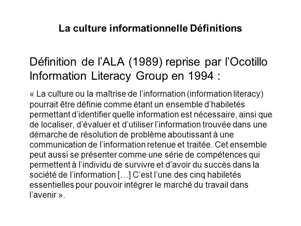 La culture informationnelle Définitions