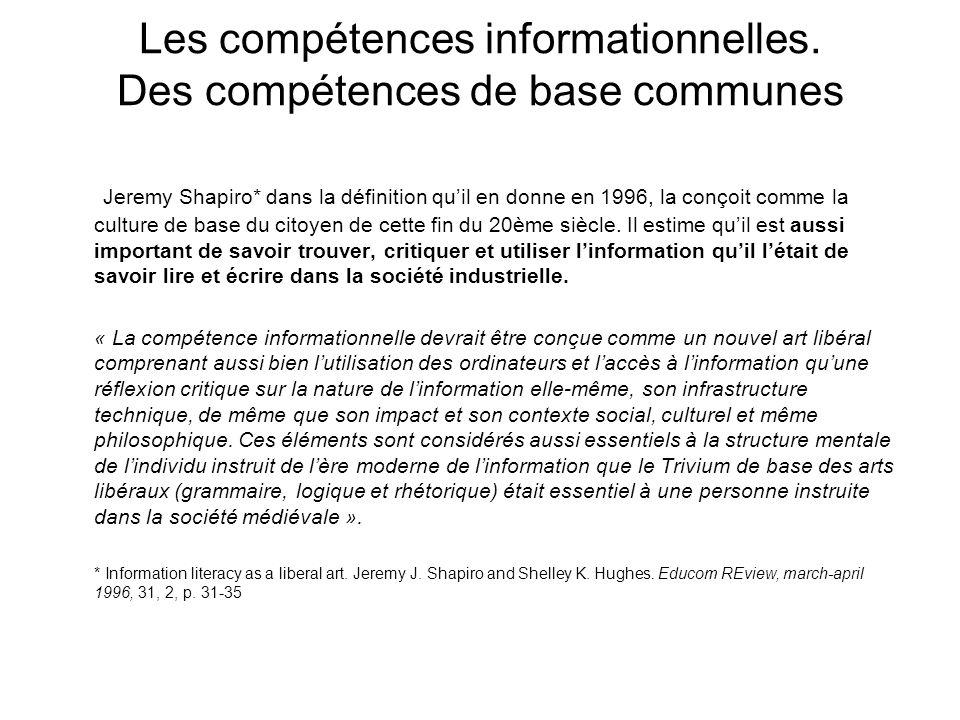 Les compétences informationnelles. Des compétences de base communes