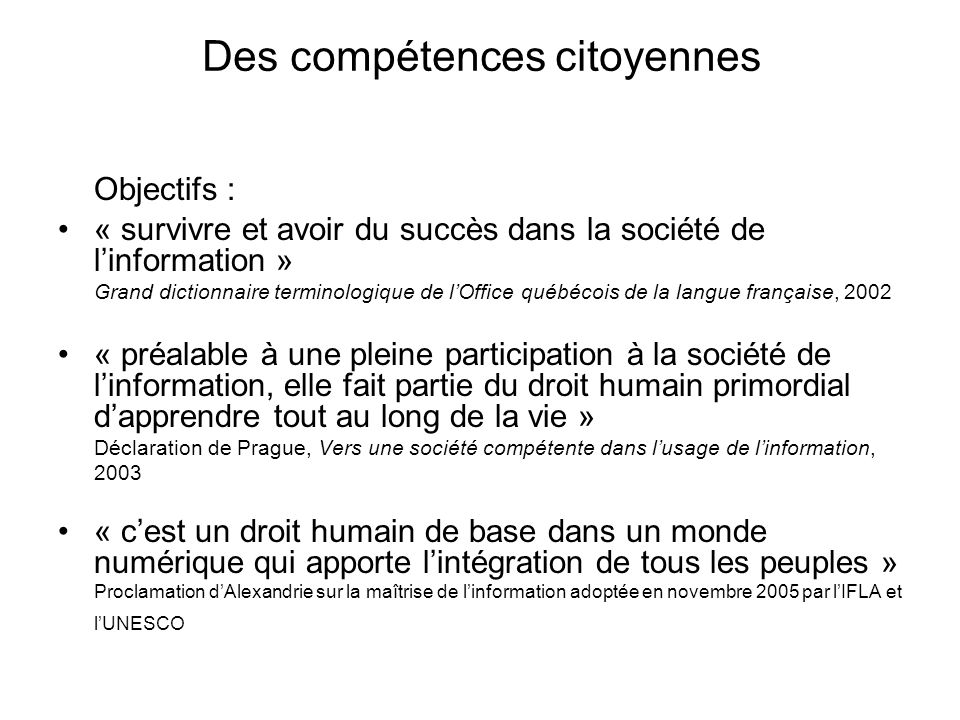 Des compétences citoyennes
