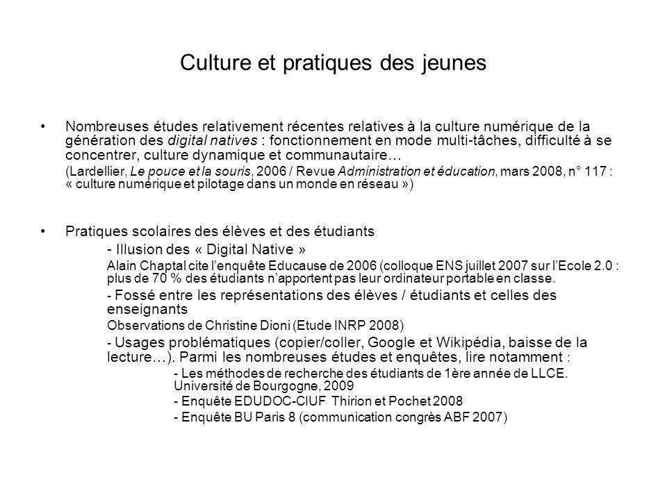Culture et pratiques des jeunes