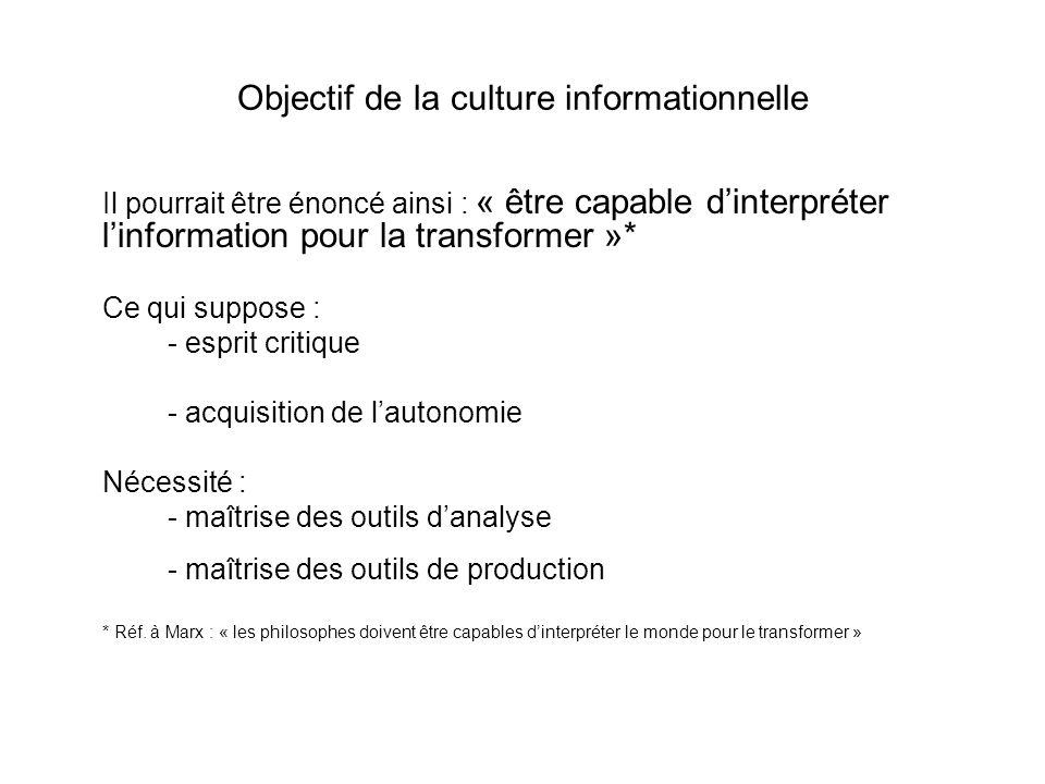 Objectif de la culture informationnelle