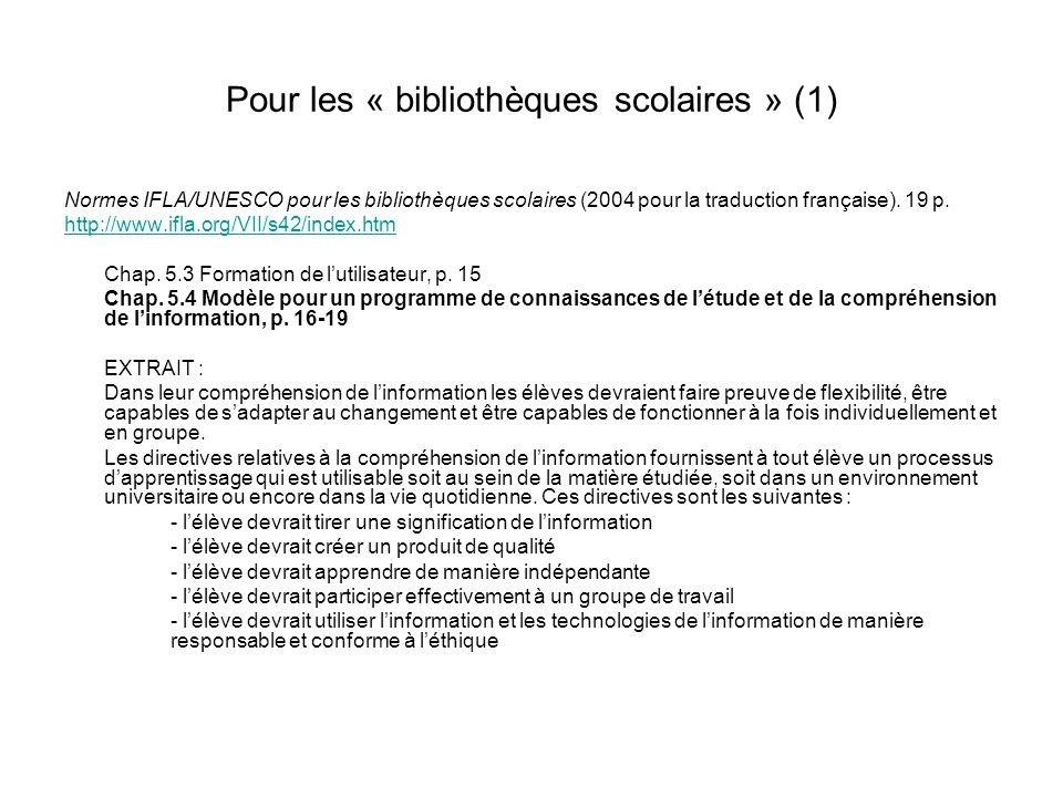 Pour les « bibliothèques scolaires » (1)