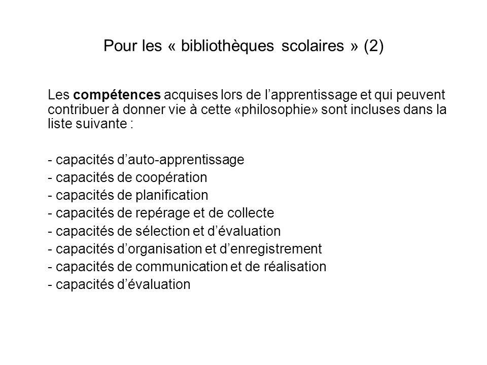 Pour les « bibliothèques scolaires » (2)