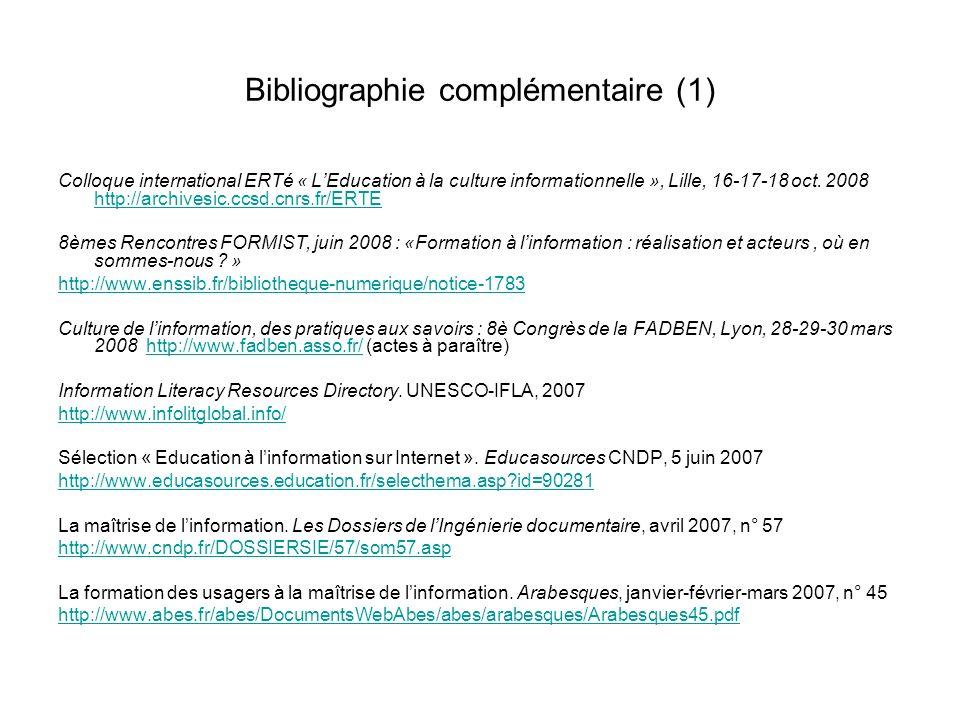 Bibliographie complémentaire (1)