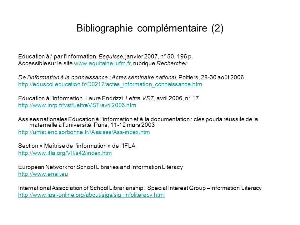 Bibliographie complémentaire (2)