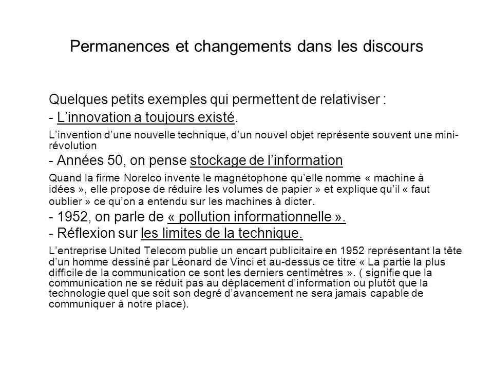 Permanences et changements dans les discours