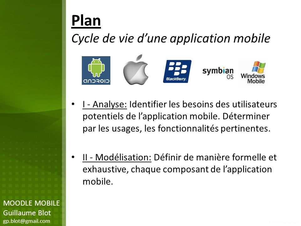 Plan Cycle de vie d'une application mobile