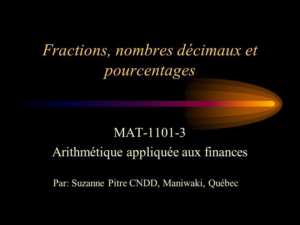 Fractions, nombres décimaux et pourcentages