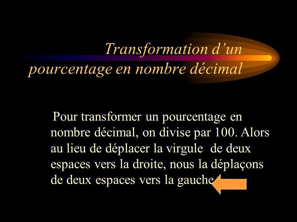 Transformation d'un pourcentage en nombre décimal