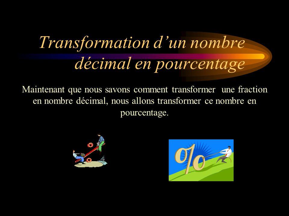 Transformation d'un nombre décimal en pourcentage