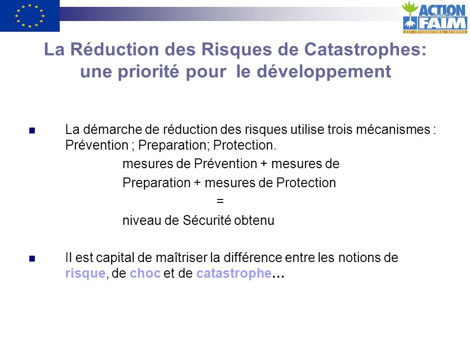 La Réduction des Risques de Catastrophes: une priorité pour le développement