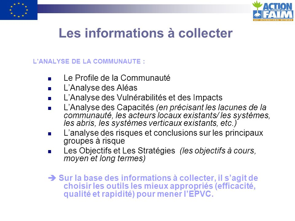 Les informations à collecter