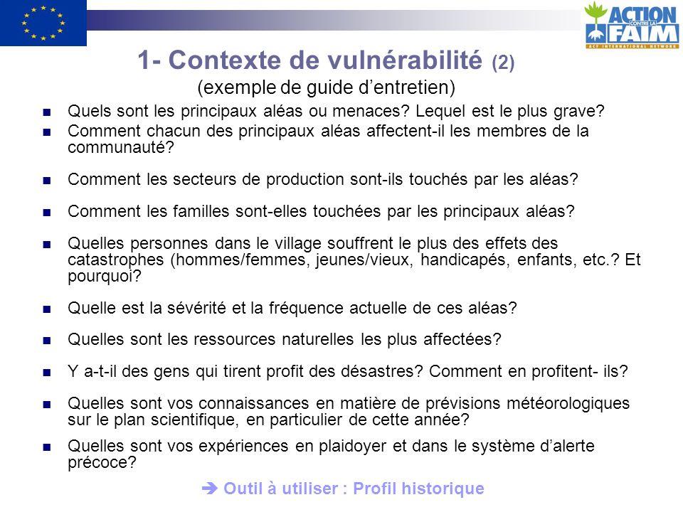 1- Contexte de vulnérabilité (2) (exemple de guide d'entretien)