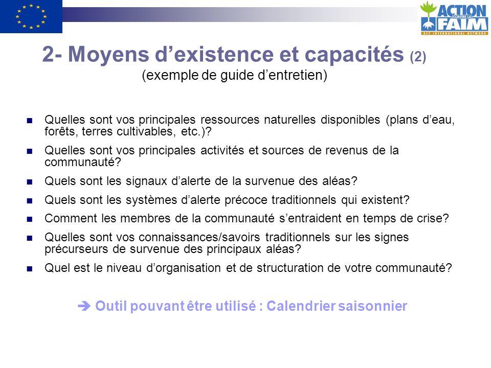 2- Moyens d'existence et capacités (2) (exemple de guide d'entretien)