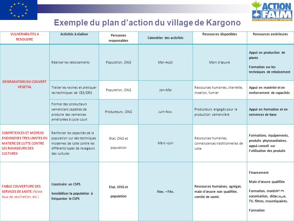 Exemple du plan d'action du village de Kargono