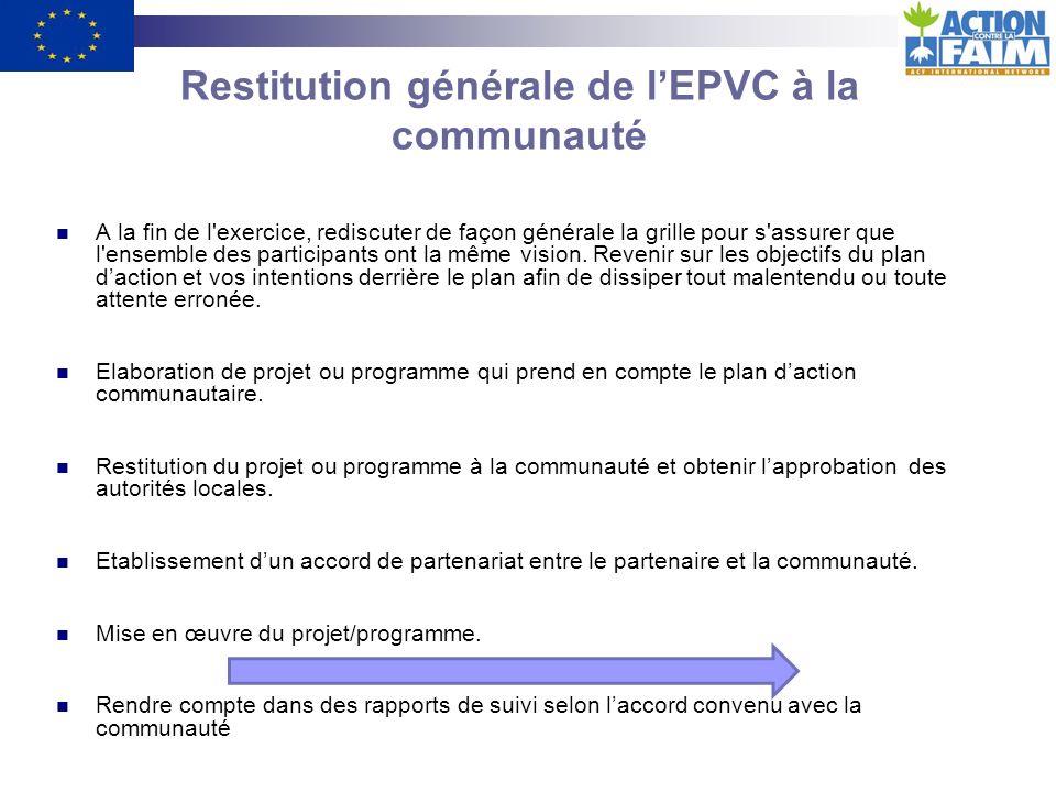 Restitution générale de l'EPVC à la communauté
