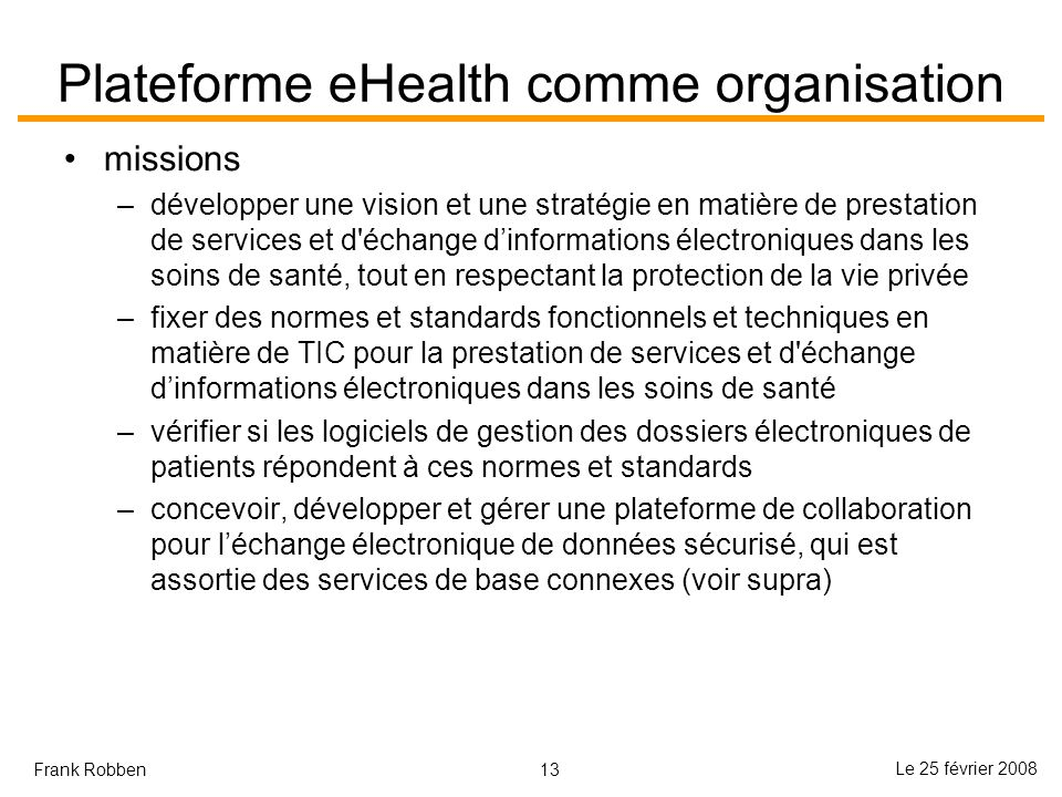 Plateforme eHealth comme organisation