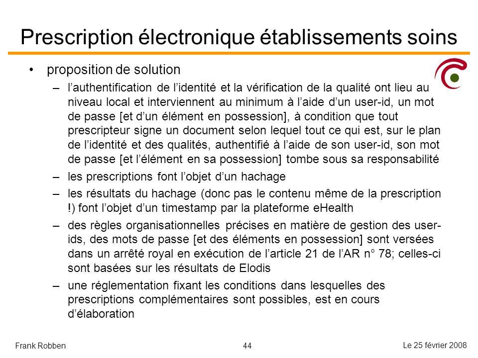 Prescription électronique établissements soins