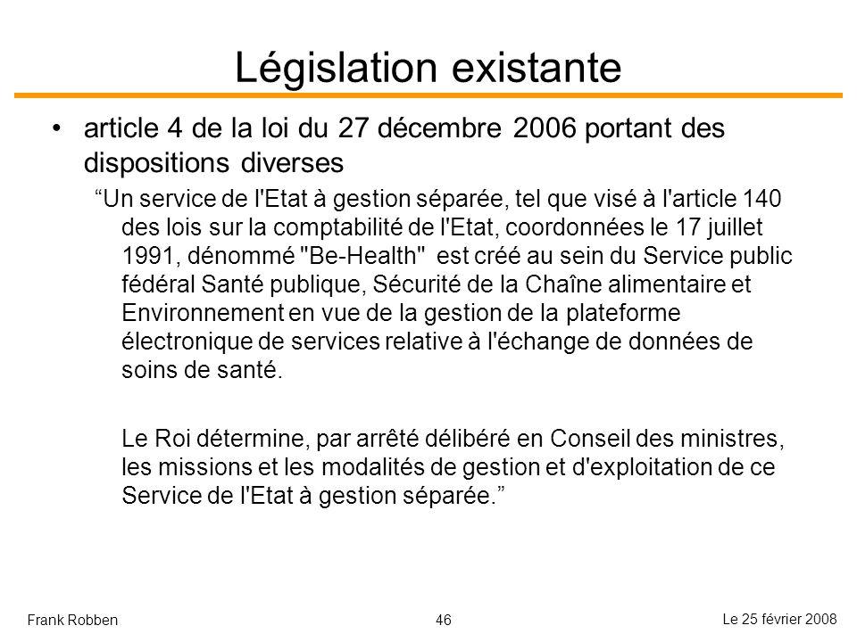 Législation existante