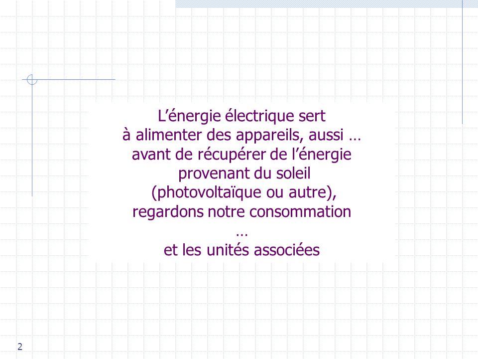 L'énergie électrique sert à alimenter des appareils, aussi …