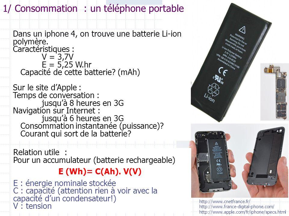 1/ Consommation : un téléphone portable