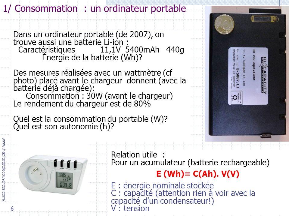 1/ Consommation : un ordinateur portable