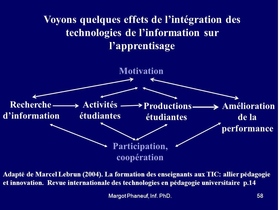 Voyons quelques effets de l'intégration des technologies de l'information sur l'apprentisage