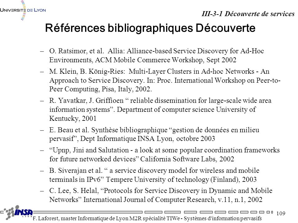 Références bibliographiques Découverte