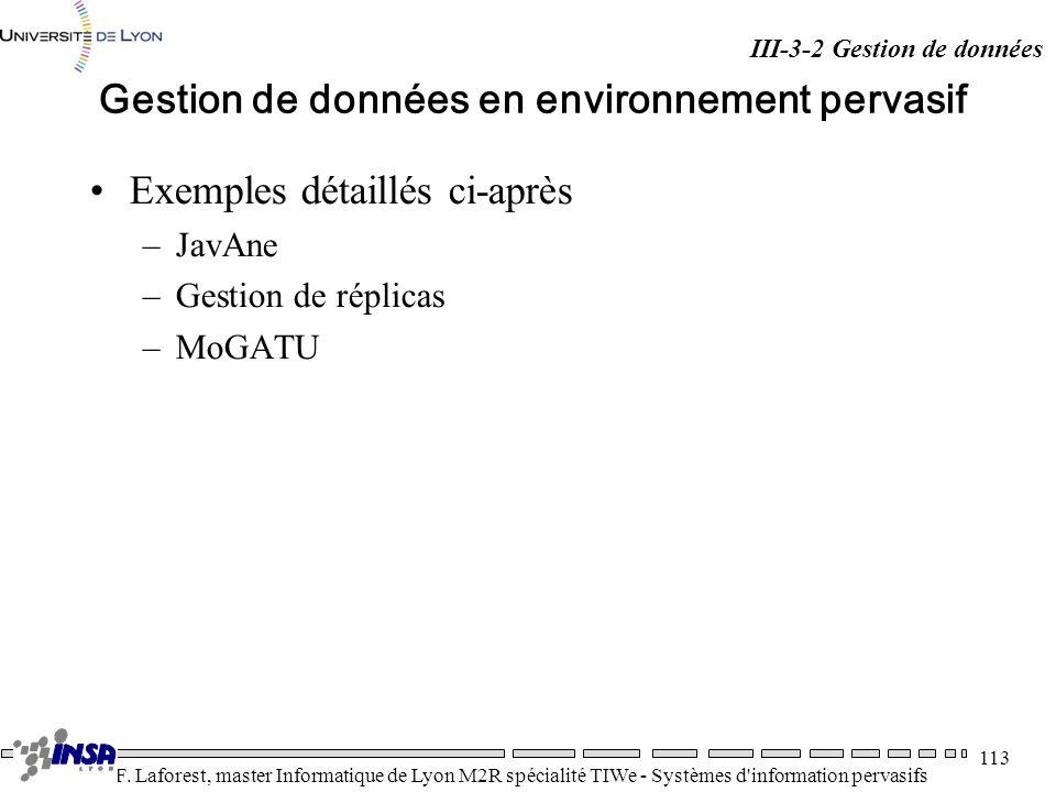Gestion de données en environnement pervasif