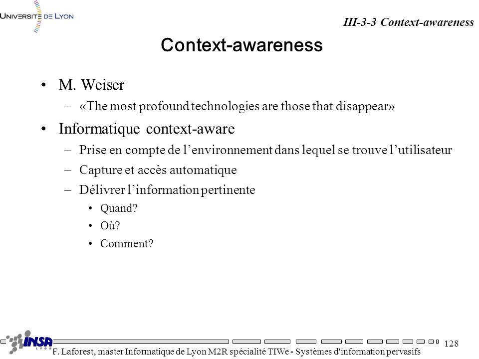 Context-awareness M. Weiser Informatique context-aware