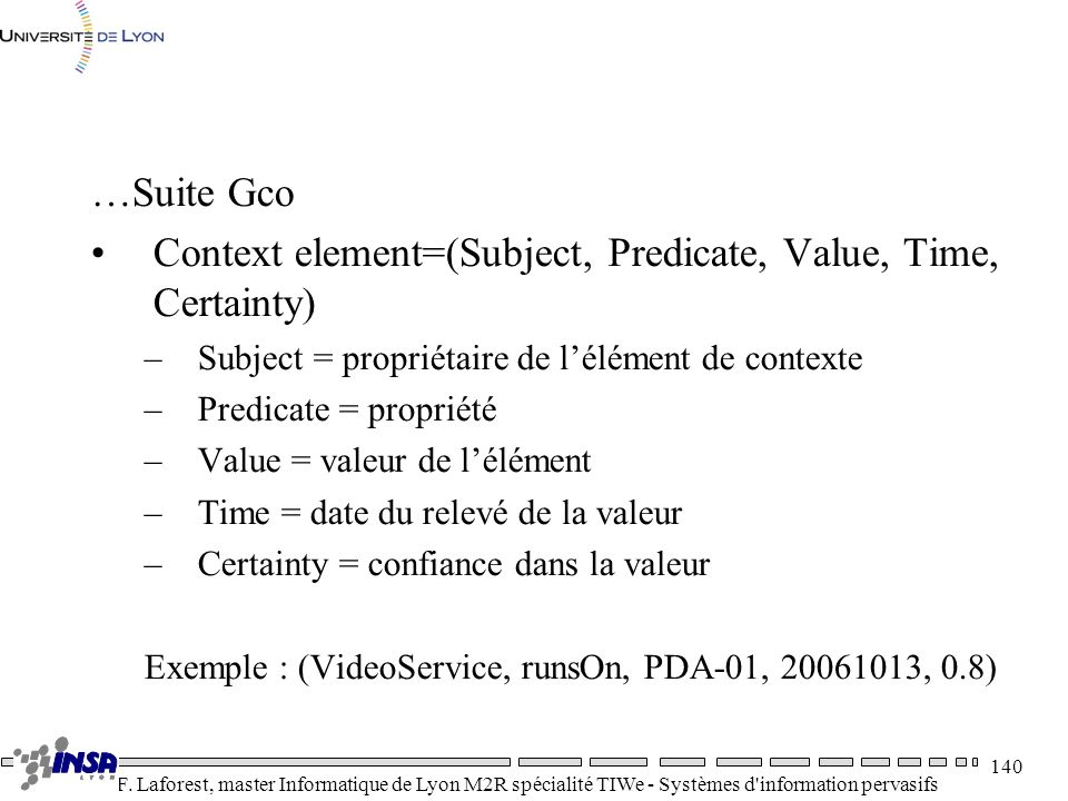 Context element=(Subject, Predicate, Value, Time, Certainty)