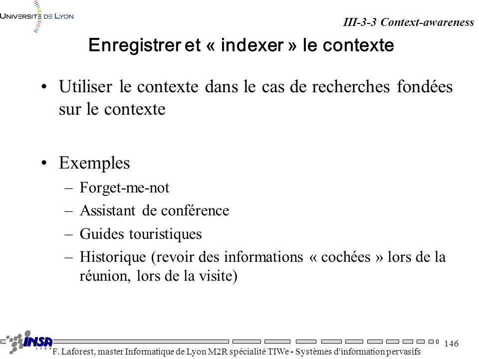 Enregistrer et « indexer » le contexte
