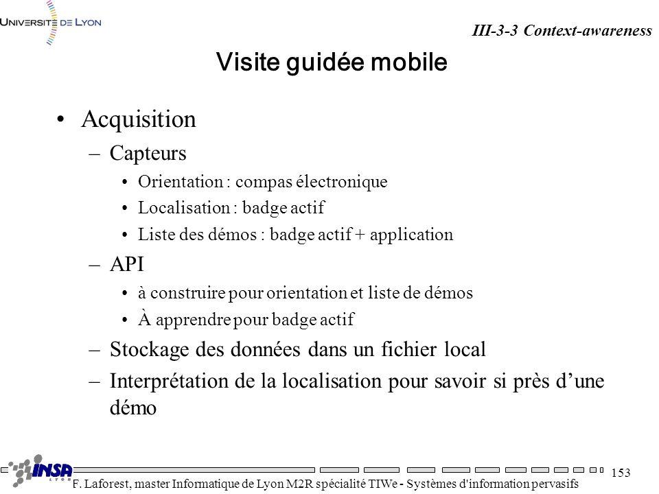 Visite guidée mobile Acquisition Capteurs API